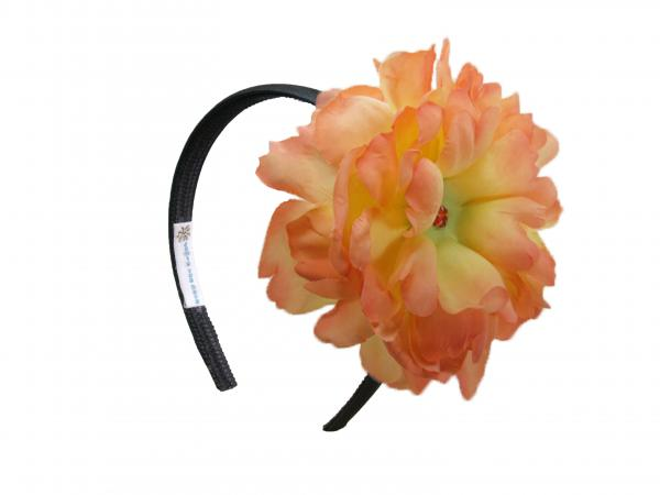 Black Hard Headband with Orange Large Peony