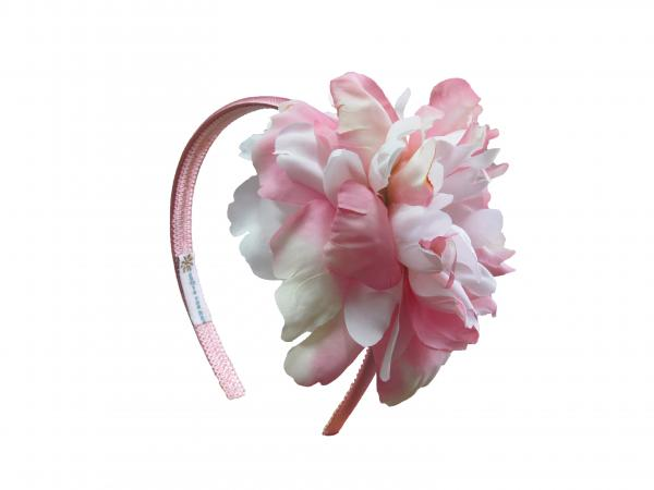 Candy Pink Hard Headband with Pink White Large Peony