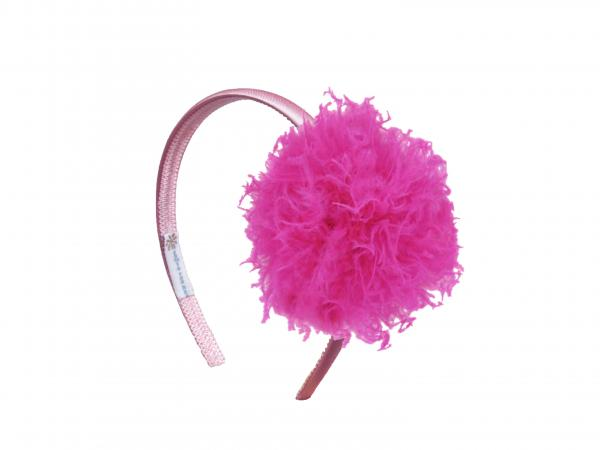 Candy Pink Hard Headband with Raspberry Large Curly Marabou