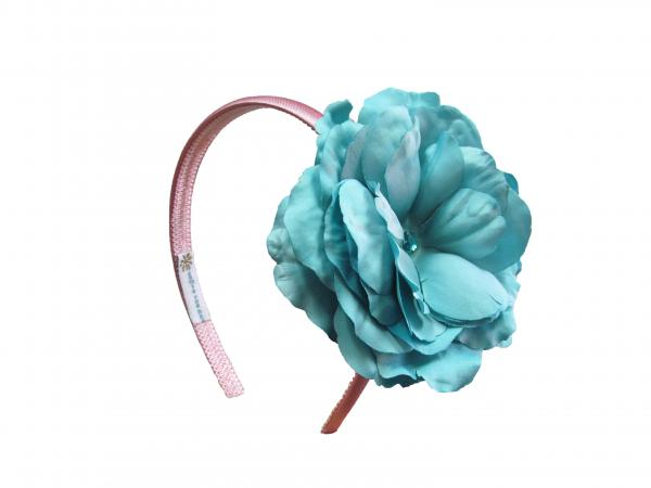 Candy Pink Hard Headband with Teal Large Rose