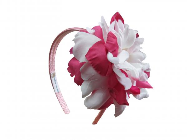 Candy Pink Hard Headband with White Raspberry Large Peony