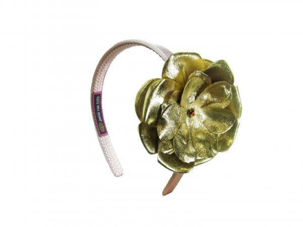 Gold Hard Headband With Metallic Gold Rose Hh Gold Mgoldr