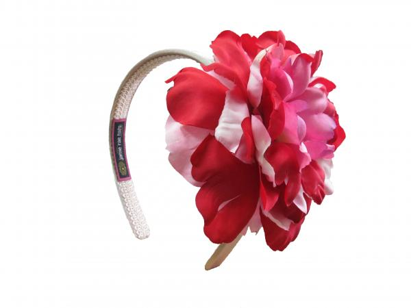 Gold Hard Headband with Red Pink Large Peony