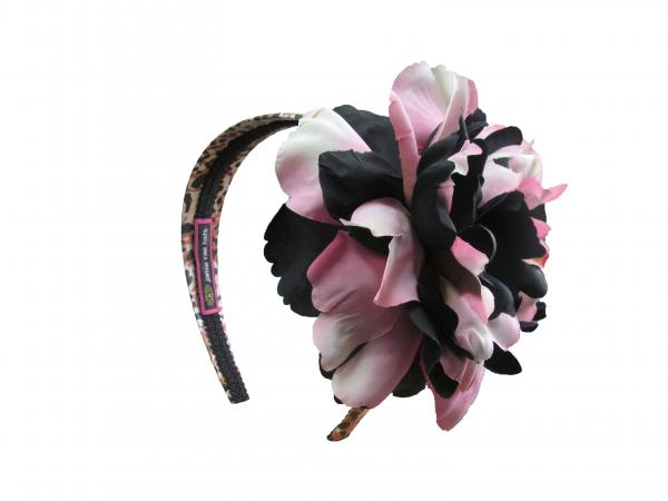 Leopard Hard Headband with Pink Black Large Peony