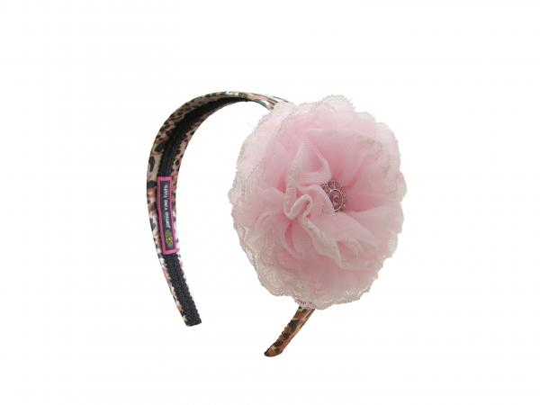 Leopard Hard Headband with Pale Pink Lace Rose