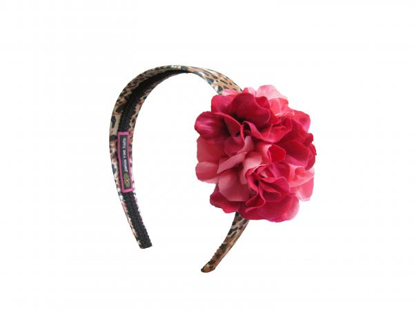 Leopard Hard Headband with Pink Raspberry Small Geraniums