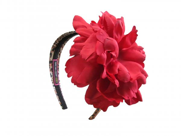 Leopard Hard Headband with Red Large Peony