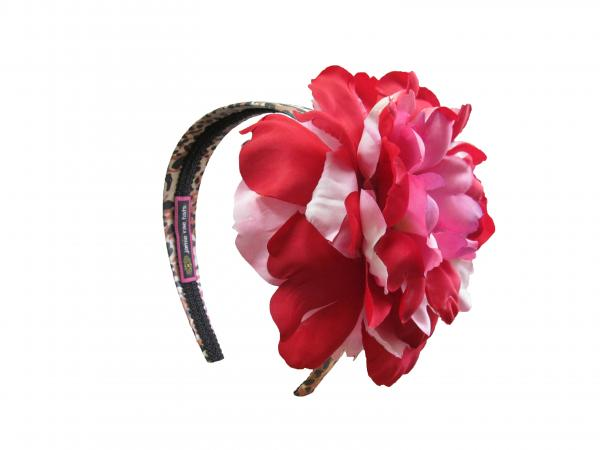 Leopard Hard Headband with Red Pink Large Peony