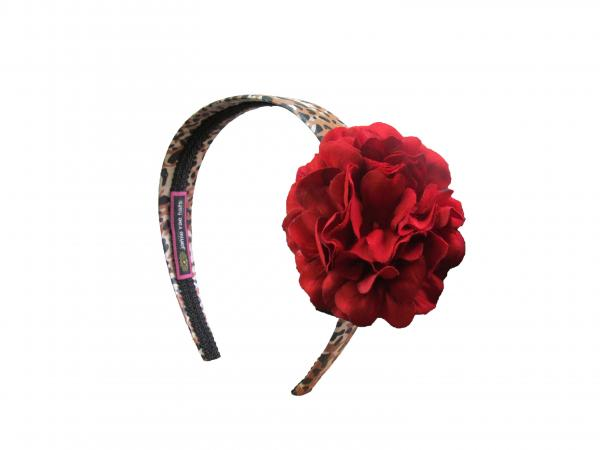 Leopard Hard Headband with Red Small Geraniums