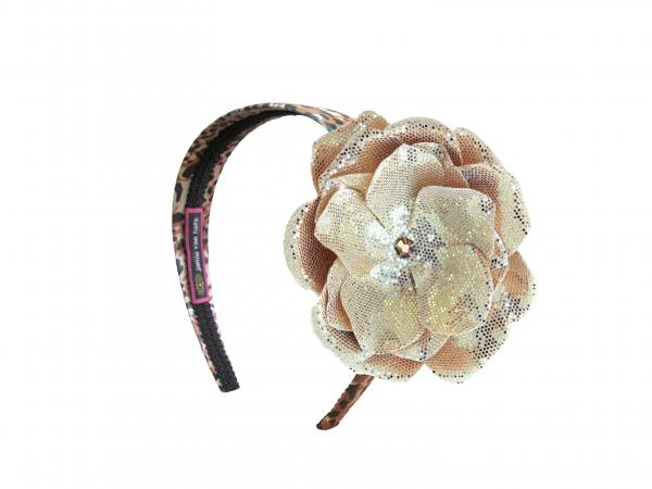 Leopard Hard Headband with Sequins Gold Rose