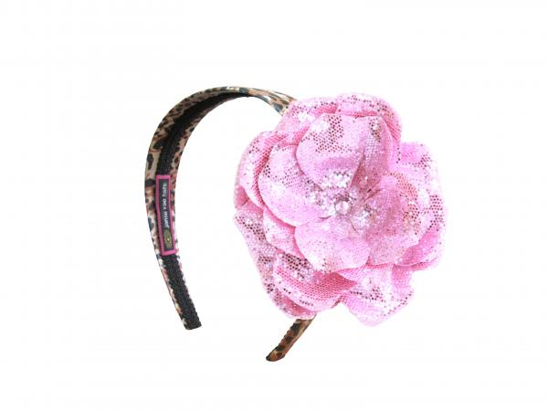 Leopard Hard Headband with Sequins Pale Pink Rose