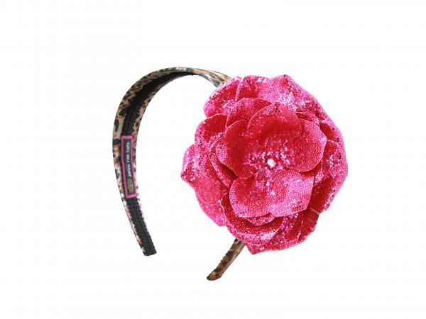 Leopard Hard Headband with Sequins Raspberry Rose