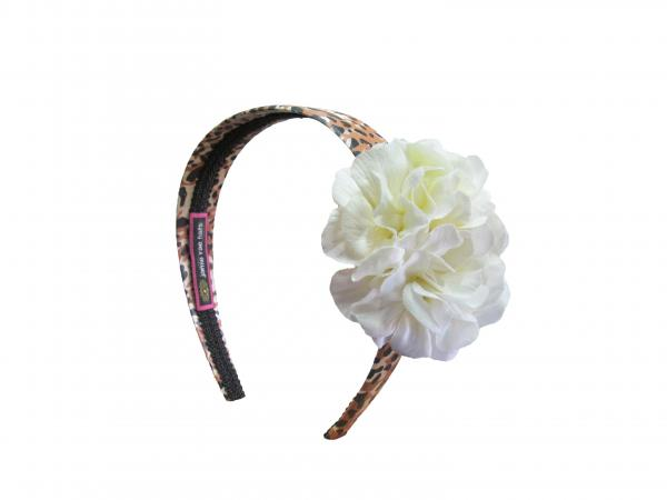 Leopard Hard Headband with White Small Geraniums