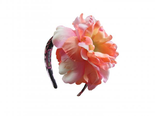 Pink Black Leopard Hard Headband with Orange Pink Large Peony