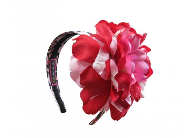Pink Black Leopard Hard Headband with Red Pink Large Peony