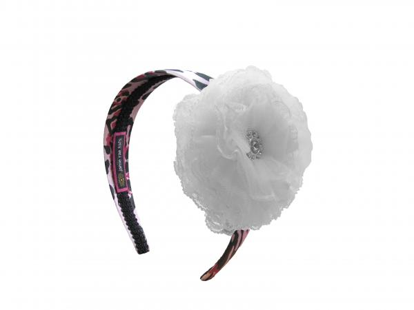Pink Black Leopard Hard Headband with White Lace Rose