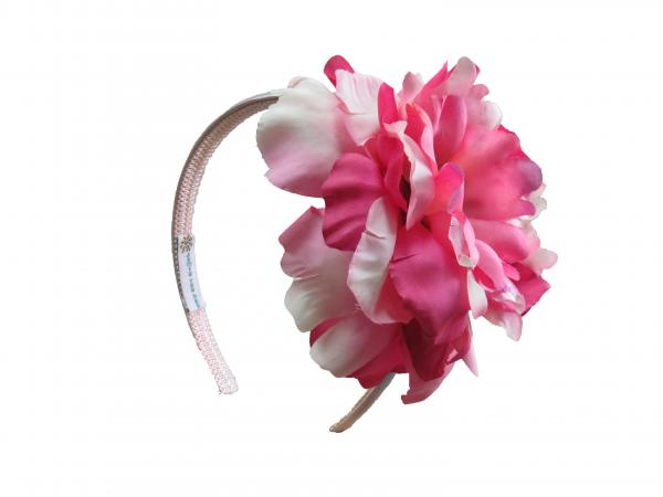 Pale Pink Hard Headband with Pink Raspberry Large Peony