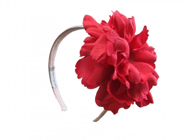 Pale Pink Hard Headband with Red Large Peony