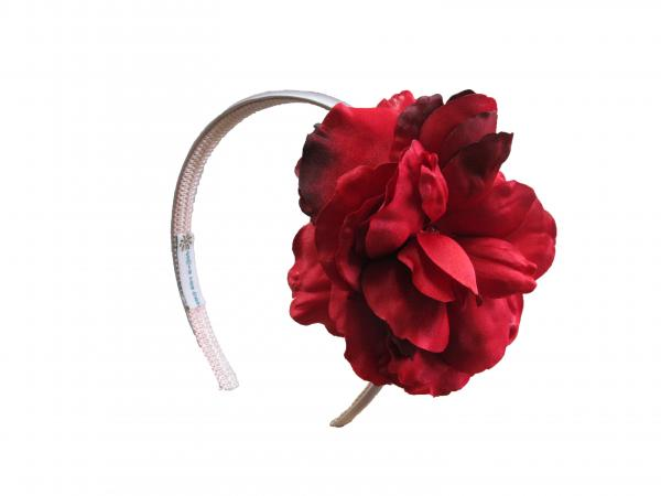 Pale Pink Hard Headband with Red Large Rose