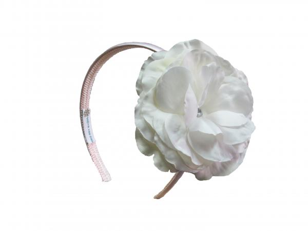 Pale Pink Hard Headband with White Large Rose