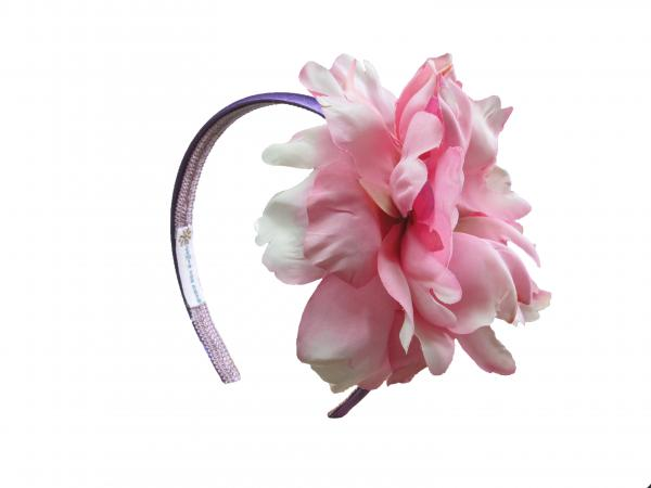 Purple Hard Headband with Candy Pink Large Peony