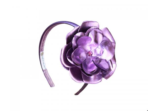 Purple Hard Headband with Metallic Purple Rose