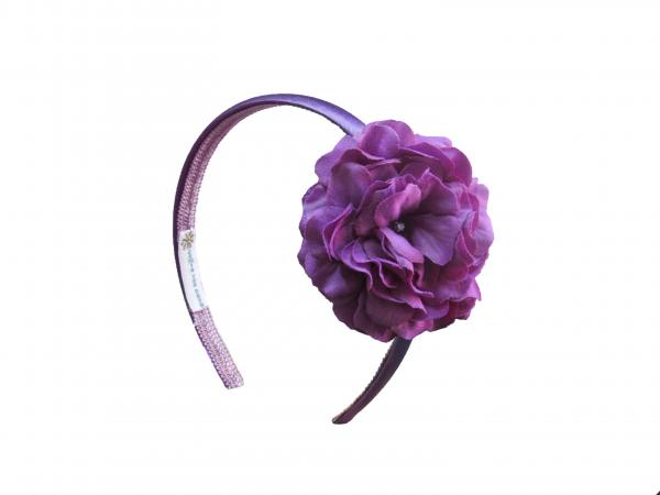 Purple Hard Headband with Purple Small Geraniums