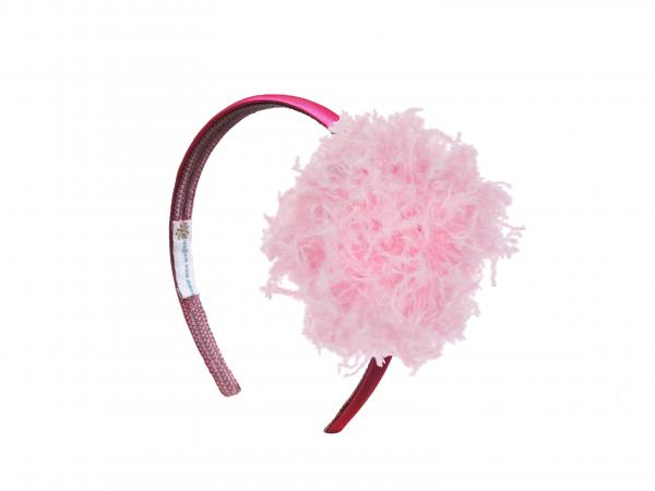 Raspberry Hard Headband with Candy Pink Large Curly Marabou