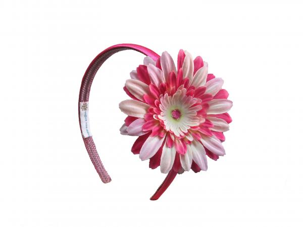 Raspberry Hard Headband with Pink Raspberry Daisy