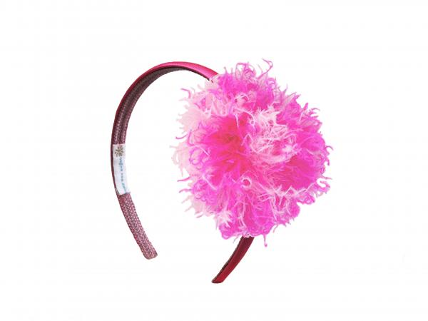 Raspberry Hard Headband with Pink Raspberry Large Curly Marabou