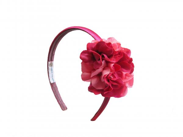 Raspberry Hard Headband with Pink Raspberry Large Geraniums