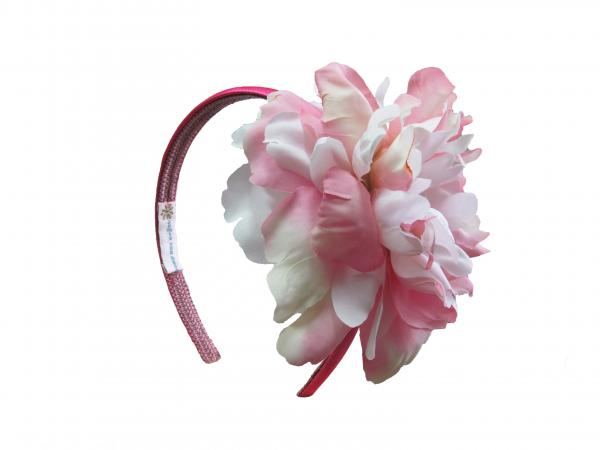 Raspberry Hard Headband with Pink White Large Peony