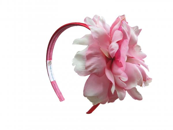 Red Hard Headband with Candy Pink Large Peony