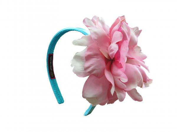 Teal Hard Headband with Candy Pink Large Peony
