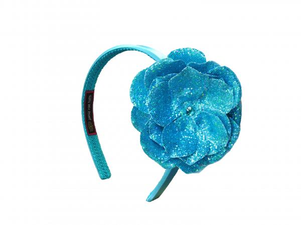 Teal Hard Headband with Sequins Teal Rose
