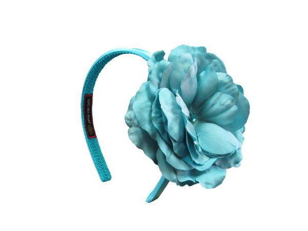 Teal Hard Headband with Teal Large Rose