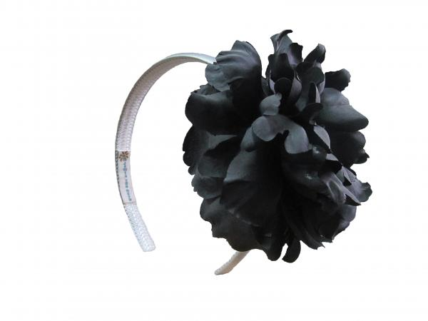 White Hard Headband with Black Large Peony