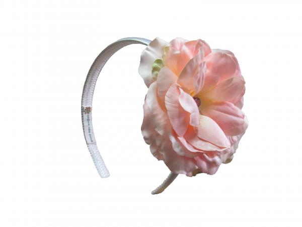 White Hard Headband with Pale Pink Large Rose