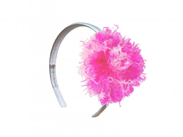 White Hard Headband with Pink Raspberry Large Curly Marabou