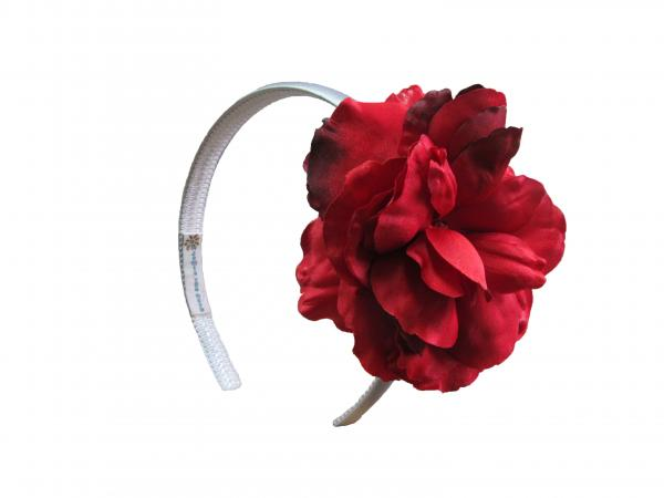 White Hard Headband with Red Large Rose