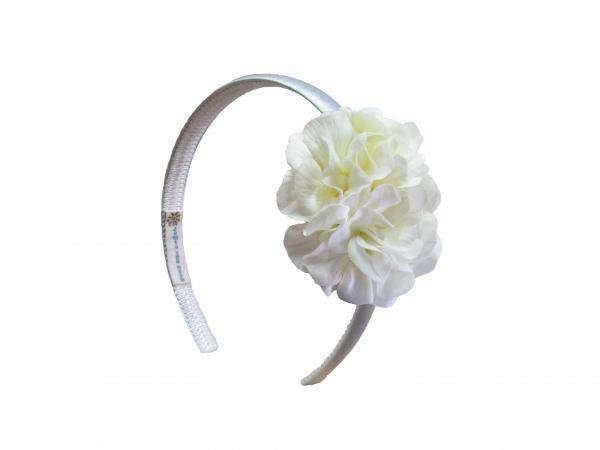 White Hard Headband with White Small Geraniums