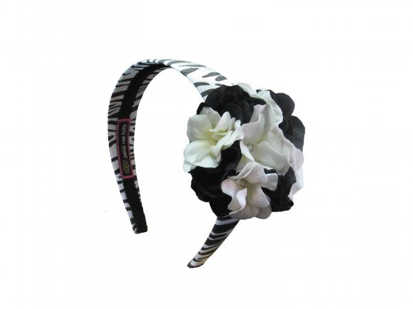 Zebra Hard Headband with Black White Small Geraniums