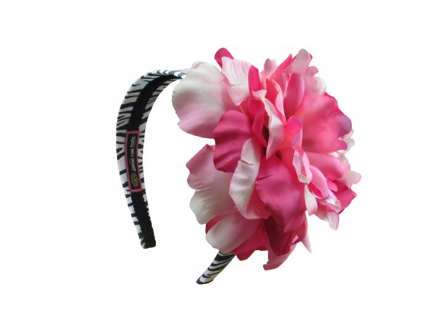 Zebra Hard Headband with Pink Raspberry Large Peony