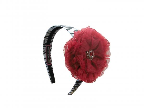Zebra Hard Headband with Red Lace Rose