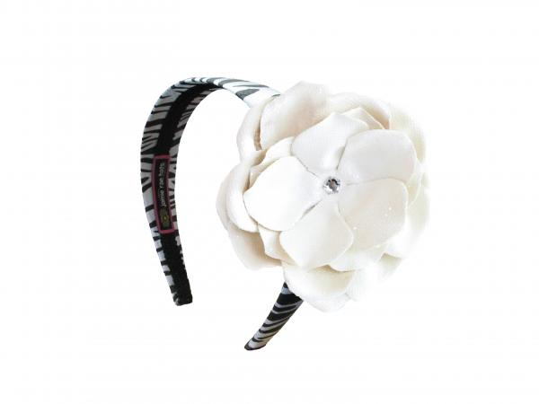 Zebra Hard Headband with Sequins Cream Rose