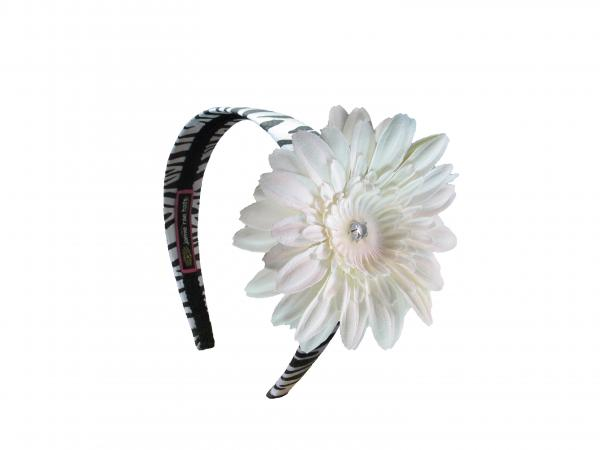 Zebra Hard Headband with White Daisy