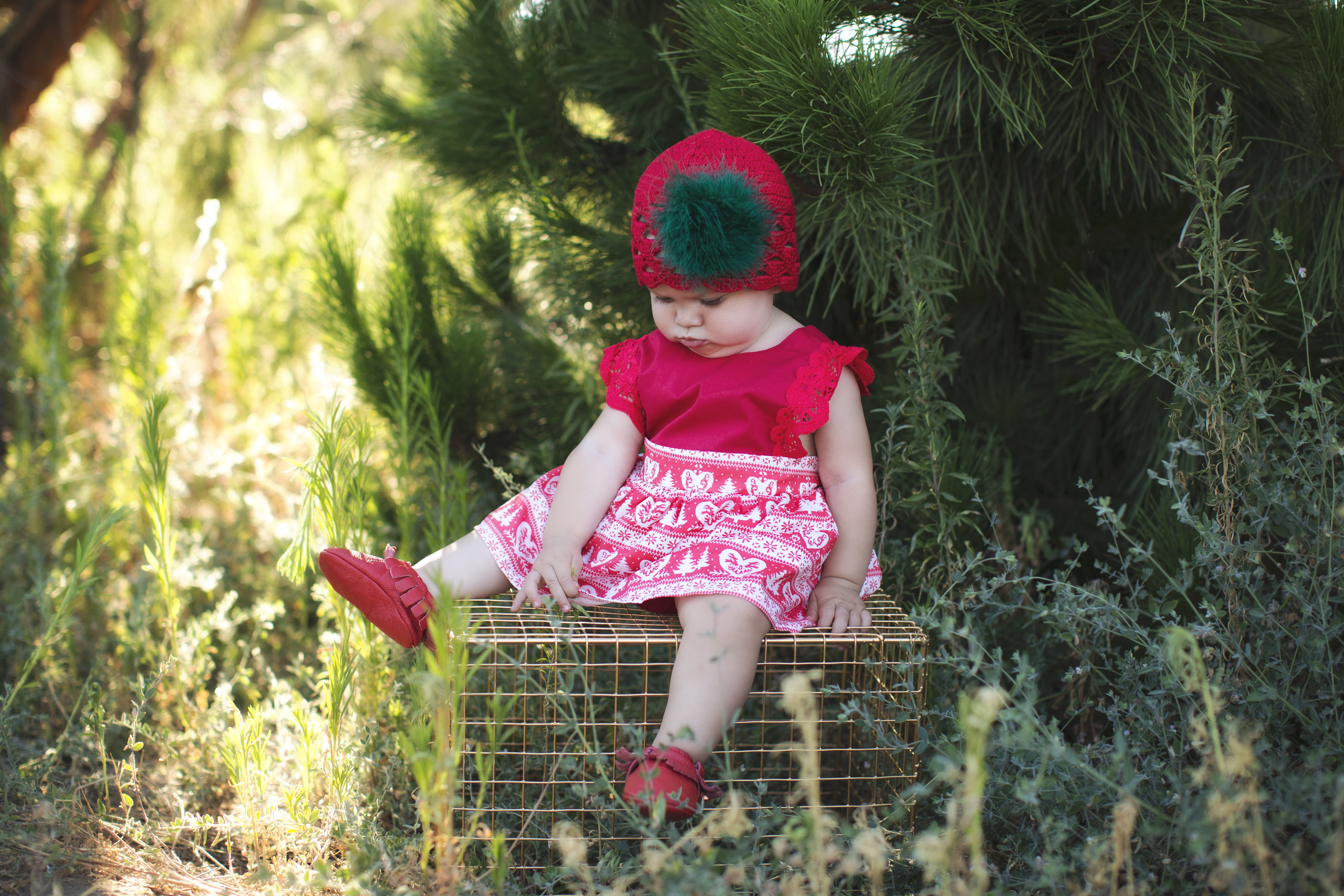 Red Scalloped Crochet Hat with Green Large Marabou