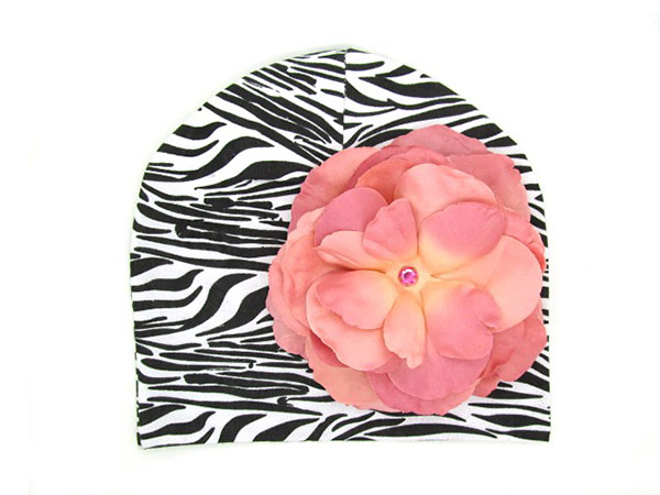 Black White Zebra Print Hat with Candy Pink Large Rose