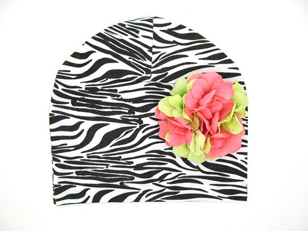 Black White Zebra Print Hat with Pink Green Large Geraniums