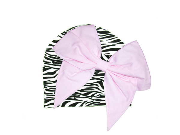 Black White Zebra Print Hat with Pale Pink Bow-Rae-Mi
